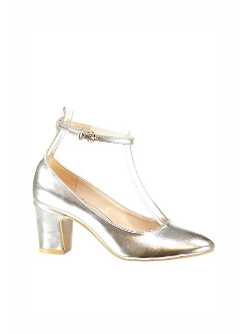 Elle Kalın Topuklu Ayakkabı Altın